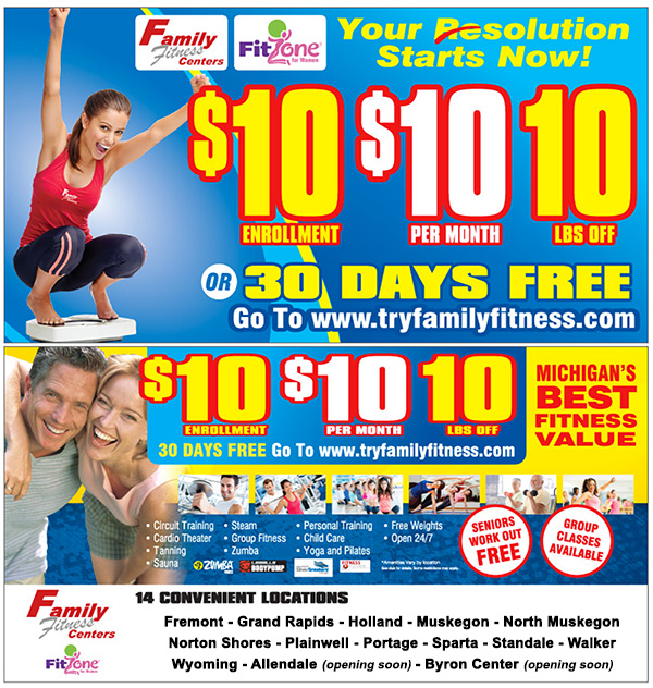 Family Fitness and Fitzone for Women Clubs Membership Special for January 2017